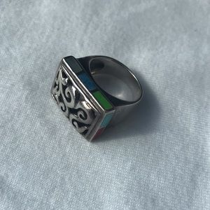 Sterling Open Filigree Inlay Ring, 5 3/4